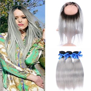 360 Lace Band Frontal With Bundles 3Pcs 1B Sliver Grey Ombre Brazilian Silk Straight Virgin Human Hair Weave With Full Frontal Lace Closure