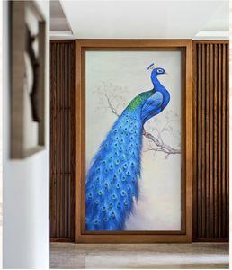 Blue peacock whole wall wallpaper European oil painting entrance corridor background wallpaper large fresco green wall cloth