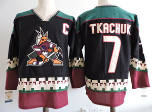 Wholesale Phoenix Coyotes Vintage KEITH TKACHUK Hockey Jersey Vintage KEITH TKACHUK Black White CCM Stitched Arizona Coyote Jerseys C Patch
