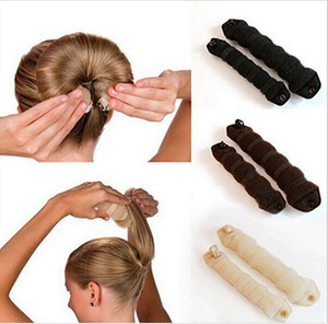 Wholesale New Fashion sets Sponge Hair Styling Donut Bun Maker Magic easy using Former Ring Shaper Styler Hair Accessories Tool colors