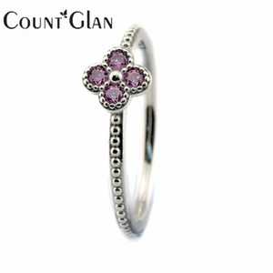 Wholesale 2016 Summer Style Oriental Blossom Silver Rings with Pink CZ Sterling Silver Jewelry DIY
