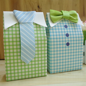 Wholesale New Sale Little Man Blue Green Bow Tie Birthday Boy Baby Shower Favor Candy Treat Bag Wedding Favors Candy Box Gift Bag