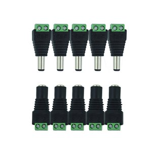 Wholesale 5pcs Female Male DC connector mm Power Jack Adapter Plug Cable Connector for single color led tape