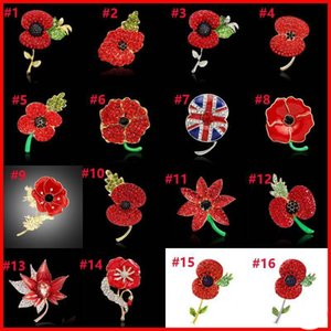 Wholesale 28 Types Crystal Heart Flower Poppy National Flag Union Jack Brooches Pins The British Legion Brooch Corsages for UK Remembrance Day