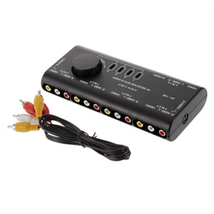 divisor de saída de vídeo venda por atacado-4 em Out AV RCA Caixa de Switch AV Audio Video Signal Switcher Splitter Way Seletor com Cabo RCA Para Televisão DVD VCD TV