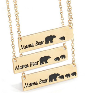 Wholesale Fashion Jewelry Mama Bear Baby Bear Pendant Necklaces For Ladies Women Girls Cute Silver Gold Color Long Chain Necklaces Christmas Gift