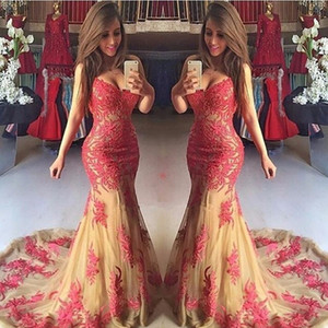2019 V-neck full lace Celebrity 12y Spaghetti formal gowns modest girls formal special occasion evening party tulle prom dresses with train on Sale