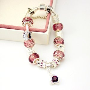 Wholesale European Style Silver Plated Crystal Charm Bracelet for Women With Purple Murano Glass Beads DIY Jewelry