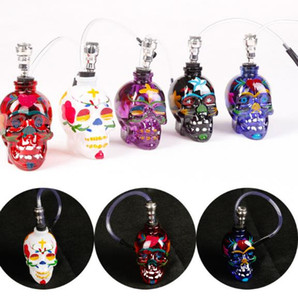 Wholesale Glass color skull pipe glass bottle with leather pipe