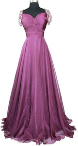 Sweetheart A Line Evening Dresses vestidos de noiva with Beaded Cap Sleeves long prom gowns free shipping on Sale