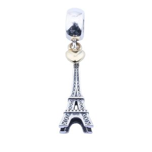 Wholesale Light Yellow Gold Color Heart Eiffel Tower Charms Pendants Vintage Sterling Silver Charm Beads DIY Brand Bracelets Jewelry Accessories