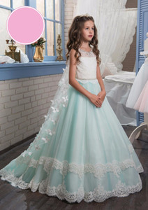 Wholesale Unique Flower Girl Dresses Bow Butterfly Crew Beaded Lace Appliques Elegant Cheap Girl s Dresses with Wraps Holy Communion Dress
