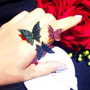 Free Shipping butterfly full rhinestone gold Ring Fashion women crystal multicolour open finger ring female Gift bride Jewelry