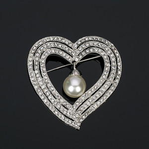 New Fashion pear big Brooch for Women Austrian Rhinestone Brooches Heart shaped Wedding Party Accessories BR007