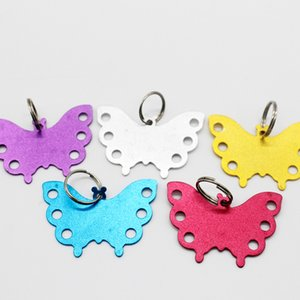 Wholesale 30pcs Personalized Custom Pet Tag Butterfly Shape Pet Name Card Carving Phone Address Dog ID Tag Colors