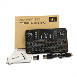 Wholesale Newest Q9 Mini GHz Wireless Keyboard With Colours RGB Backlit Touchpad Air Mouse For Andriod TV Box Set top Boxes PC