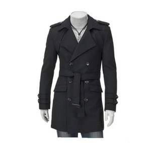 Wholesale Fashion New Men Casual Shoulder Strap Double Treasted Trench Long Coat Lapel Slim Fit Trench Coats Unique Men s Clothing