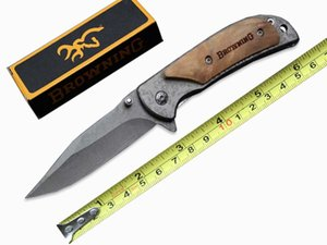 New Style Browning 338 Small Size Copy Damascus Tactical Folding Knife 440C 57HRC Fast Open Outdoor Camping Hunting Survival Knife B214Q