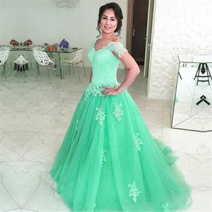 Vintage A Line Tulle Princess Prom Dresses Lace Off Shoulder Customized Made Evening Dress vestidos largos de fiesta