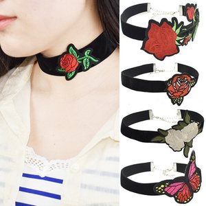 Wholesale Vintage Flannelette Rose Embroidery Butterfly Necklace Choker Necklaces Ethical Wind Clavicle Collar