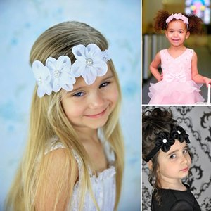 New Arrival 2018 Little Girls' Head Pieces Lace Band Chiffon Flowers Elastic Headband Kids' Accessories Baby Hair