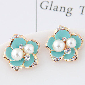 Wholesale Brincos Gold Plated Flower Stud Earrings For Women Bijoux Imitation Pearl Earings Czech Crystal Earings Fashion Jewelry