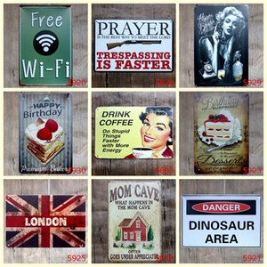 Wholesale Free Wifi Mom Cave Birthday Coffee Caution Retro Vintage TIN SIGN Old Wall Metal Painting ART Bar Man Cave Pub restaurant home Decoration