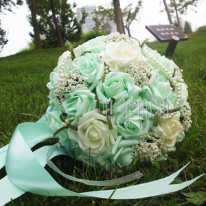 Beautiful Mint Green Wedding Bouquet with Corsag Wrist FlowerArtificial Pearls Flower Bridal Flower Wedding Bouquets bouquet
