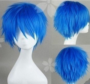 Wholesale 100 Brand New High Quality Fashion Picture full lace wigs gt Short Cosplay V home KAITO Brother blue turned Alice Wig W01