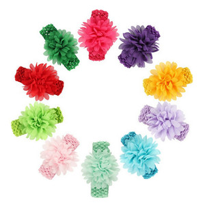 Wholesale New Brand Headbands Baby Kids Headwear Head Flower Hair Accessories Chiffon Flower With Soft Elastic Crochet Hair Band Fast