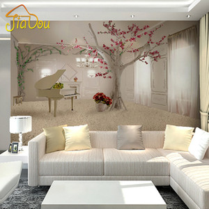 красивые обои оптовых-Custom Any Size D Wall Murals Wallpaper For Living Room Modern Fashion Beautiful Photo Murals Tree Wall Papers Home Decor
