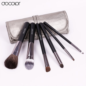 Wholesale leather cleaners resale online - Docolor Make Up Brushes Set with Leather Case Makeup Brushes Clean Powder Foundation Eyeshadow Eyebrow Lip Brushes
