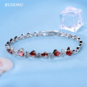 Wholesale BUDONG Infinity cm Colors Women Bracelet Simple Rectangle Silver color Purple Teardrop Crystal Zircon Wedding Jewelry XUL119