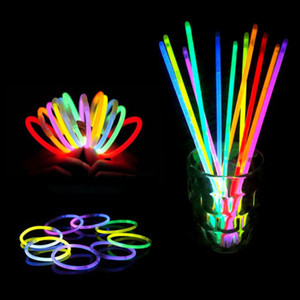 100pcs lot Christmas Party Concert Supplies Fluorescent Bracelets Glow Sticks Wedding Party Decoration Night Light Sticks on Sale