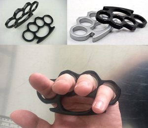 Wholesale (Black and Silver)Thin Steel Brass knuckle dusters,Self Defense Personal Security Women and Men self-defense Pendant DHL free shipping