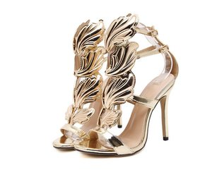 New Flame metal leaf Wing High Heel Sandals Shoes Size 35 - 40