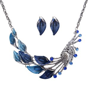 Wholesale New Arrival Fashion Necklace and Earring Jewelry Sets Colorful Drip oil Pendant Necklace Peacock Tail Korean Fashion Necklace Taro Flower