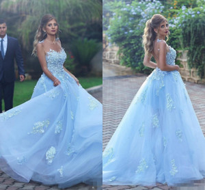 Wholesale Sky Blue Princess Prom Dresses Long Sheer Neckline Lace Appliques Tulle A Line Celebrity Evening Dresses Sheer Back Sexy Party Gowns