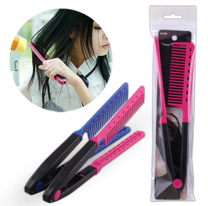 Wholesale Professional Hair Combs V Type Hair Straightener Comb DIY Salon Haircut Hairdressing Styling Tool Barber Anti static Combs Brush