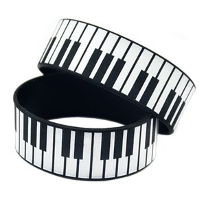 Wholesale 50PCS Inch Wide Printed Bracelet Big Piano Keys Silicone Rubber Wristband For Music Fans