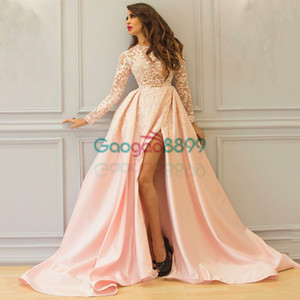 Lace Pink Evening Dresses Thigh High Slits Illusion Long Sleeves Floor Length Custom For Yousef Aljasmi Prom gown on Sale