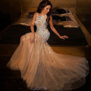 Wholesale New Arrival Sexy Mermaid Evening Dresses Bling Bling Scoop Neckline Sweep Train Beaded Crystal Champagne Women Party Gowns