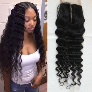 Wholesale deep wave hair middle part resale online - Peruvian Deep Wave Closure Virgin Human Hair Lace Closure Free Part Middle Part Way Part Hair Closure Fast Shiping