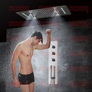 Wholesale led bathroom faucets set resale online - Thermostatic Shower Panel Stainless Steel LED Rain Waterfall Big Shower Head Ceiling Bathroom Faucet Set Wall Mounted Rainfall Faucets Unit