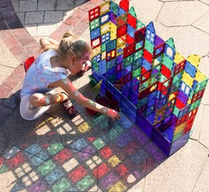 Wholesale 32pcs Magnet Building Tiles Clear Magnetic 3D Building Blocks Construction Playboards Creativity beyond Imagination Inspirational Recreation