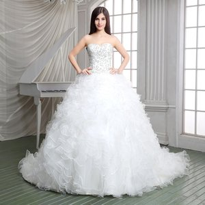 Vestido De Noiva Plus Size Embroidery Wedding Dress Stock Ivory Ball Gown Cascading Ruffles Robe De Mariage Court Train Vestiods