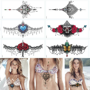 Sexy chest jewelry tattoo BIG Size 34.5X13cm Body Art tatoo Temporary Tattoo Exotic Sexy Tattoo Stickers