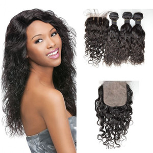 Peruvian Hair With Closure 4pcs lot Virgin Free Part Bleached Knots Water Wave Silk Base Closure With Bundles G-EASY