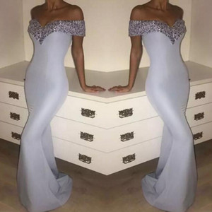 Wholesale Elegant White Mermaid Evening Gowns Crystals Beaded Off Shoulder Prom Dresses Floor Length Cocktail Formal Party Dress For Women
