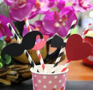 Wholesale Cool 40pcs lot Wacky Funny Beard Lip Heart Bowknot Straw Props Weeding Birthday Party Drinks Straw Decoration Party Decoration